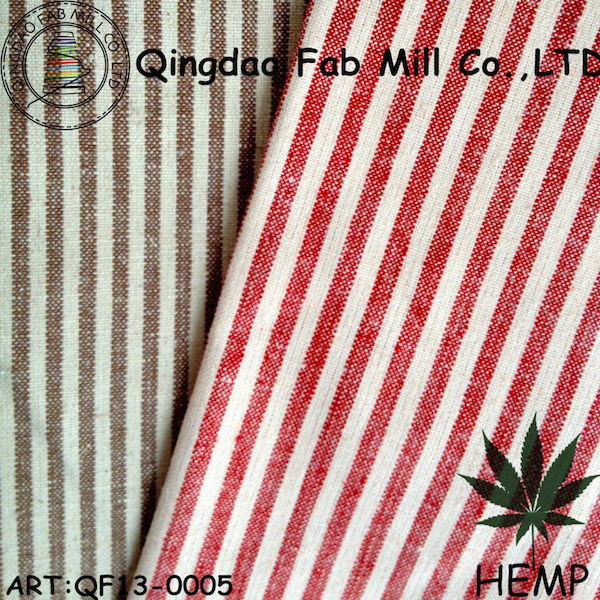 Yarn-Dyed Hemp/Organic Cotton Stripe Fabric (QF13-0005)