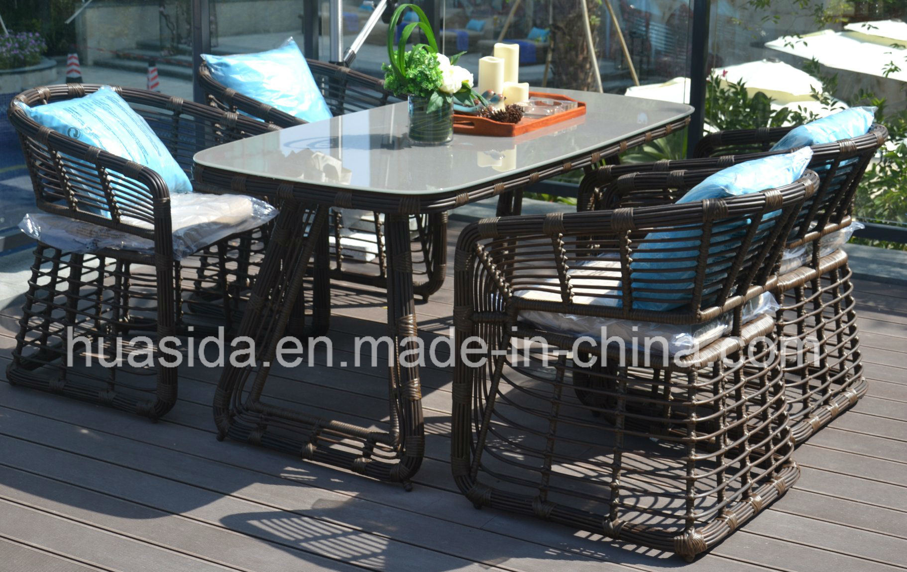 Patio Hotel Used PE Wicker Dining Table Set