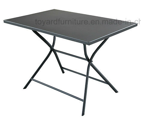 Outdoor Garden Round Folding Table with Metal Anti-Rusty Patio Camping Beach Yard Use