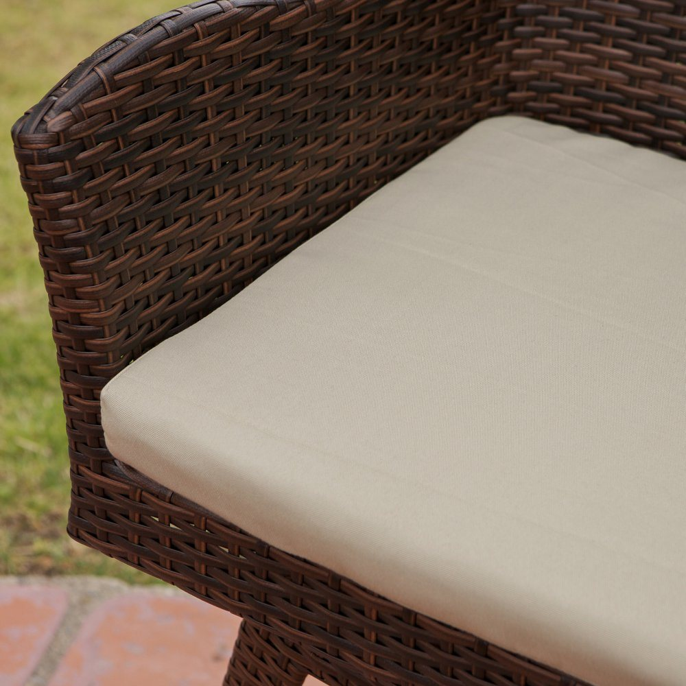 Well Furnir Outdoor Weather-Resistant PE Wicker Stool with Cushion T-030