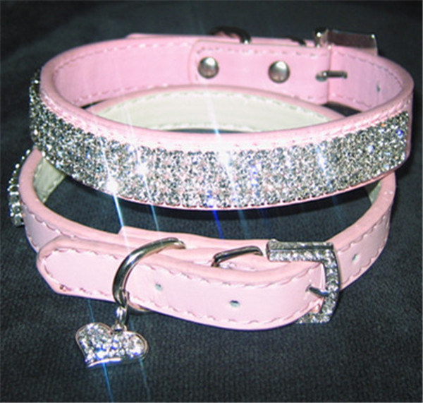 Pink Rhinestone/Crystal/Diamond Leather Pet Collar, Bling Pet Products