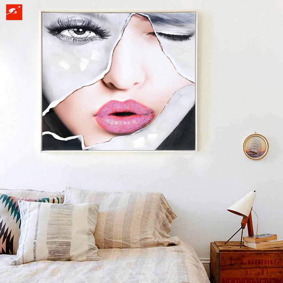 Beautiful Women Face Handmade Oil Painting