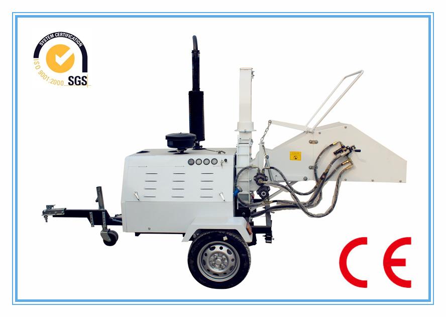 Ce Diesel Engine Wood Chipper Shredder, Two Hydraulic Feeding Rollers, Mobile/ATV Tow