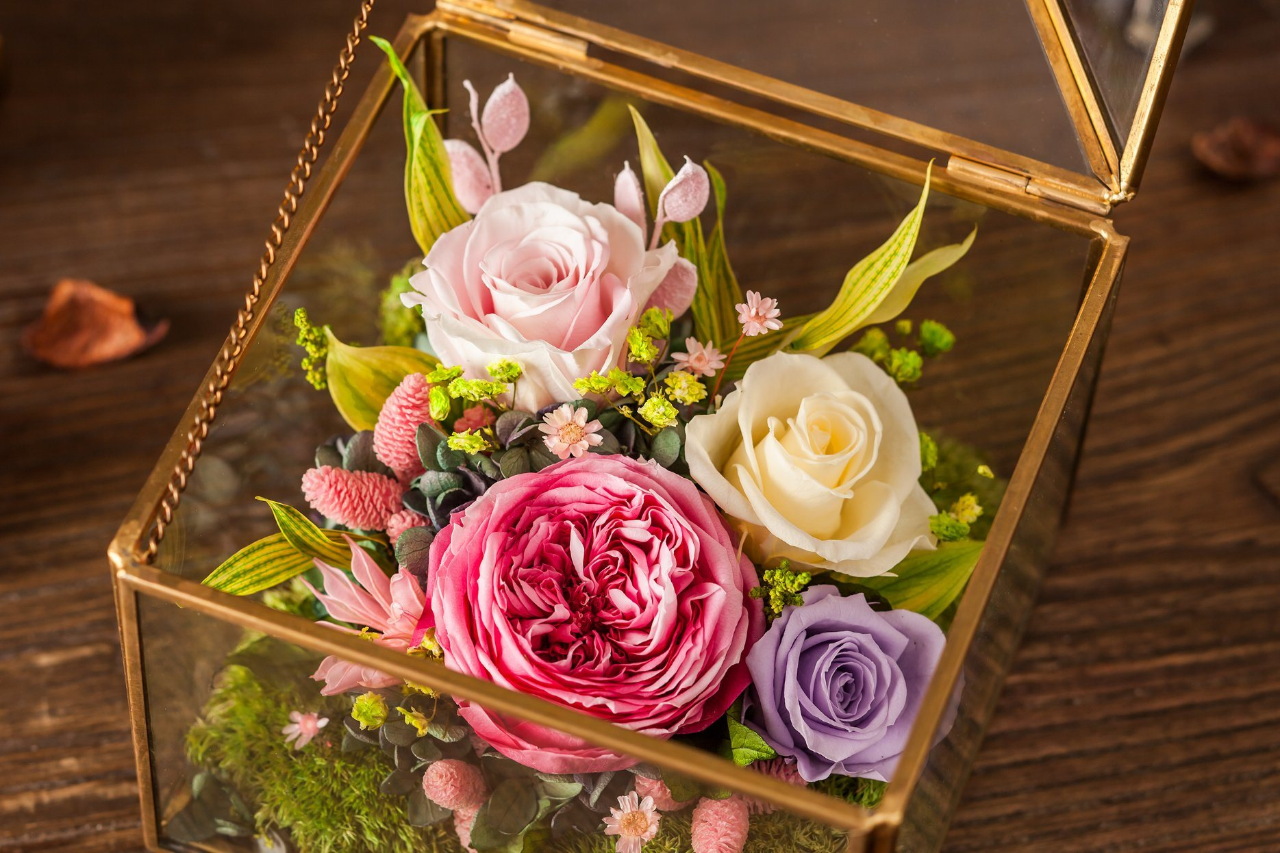Fashion 100% Natural Real Rose Flower in Glass for Valentine Gift