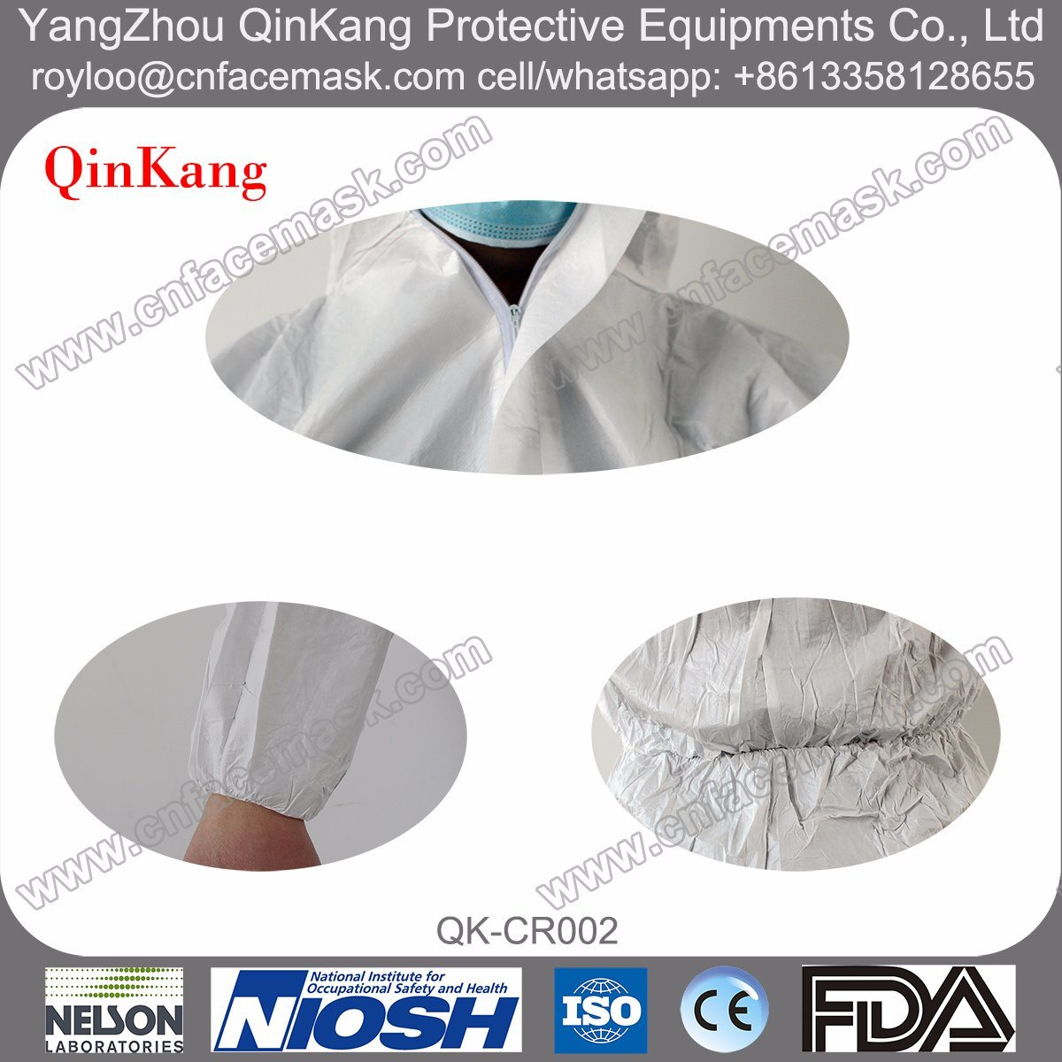 PE Nonwoven Fabric Lab Coat with Microporous Work Clothes/Coverall