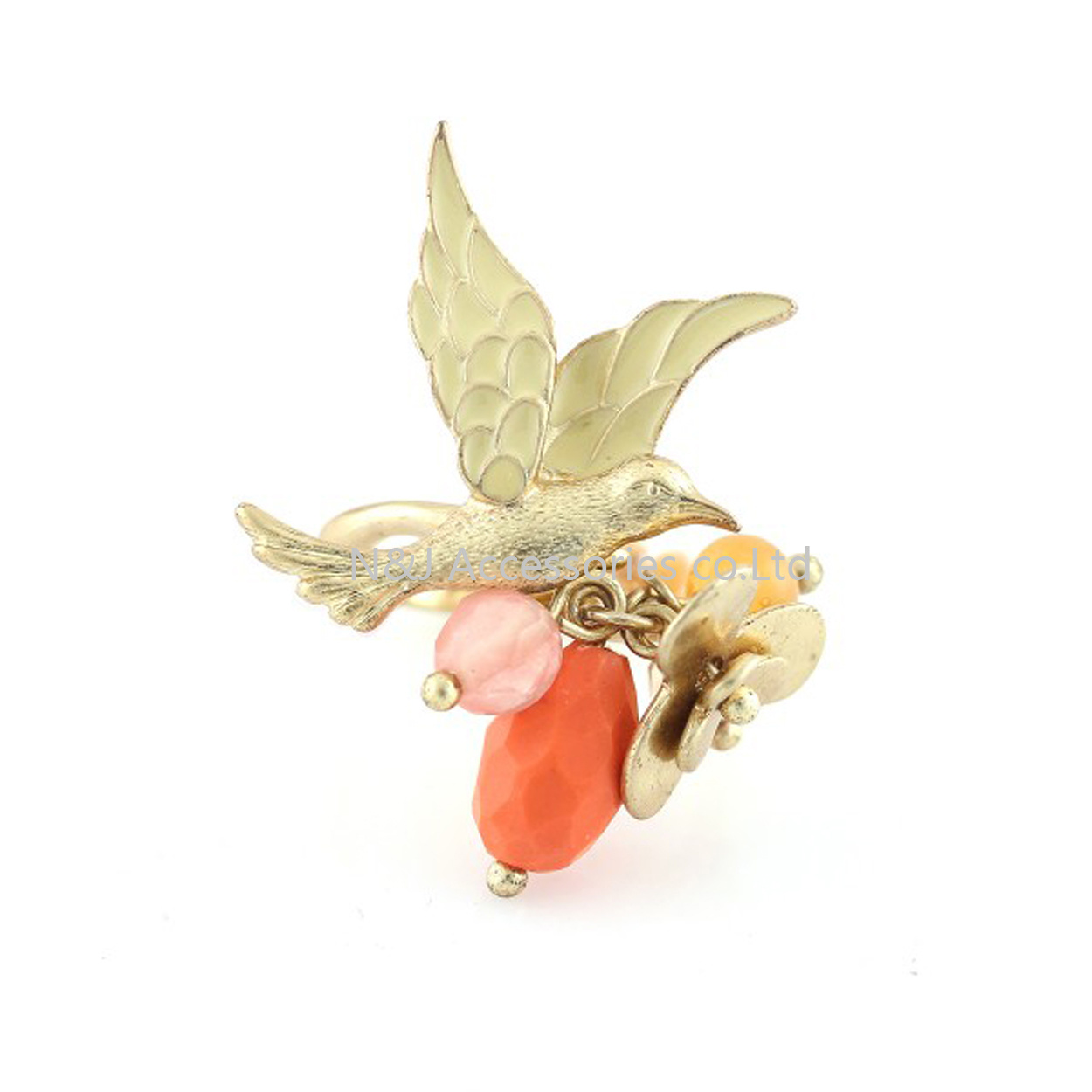 France Les Nereides Elegant Bird Flower Opening Rings for Women Yellow Tits Ring Brand Party Jewelry
