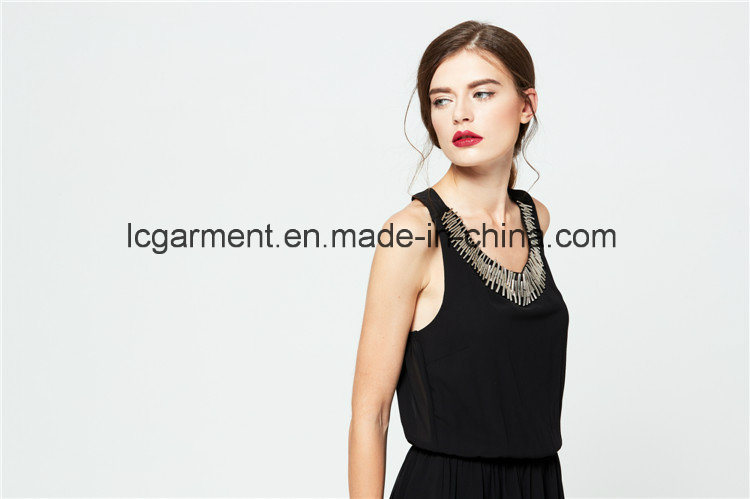 Best Price Customized Soft Chiffon Elegant Black Sexy Summer Dress