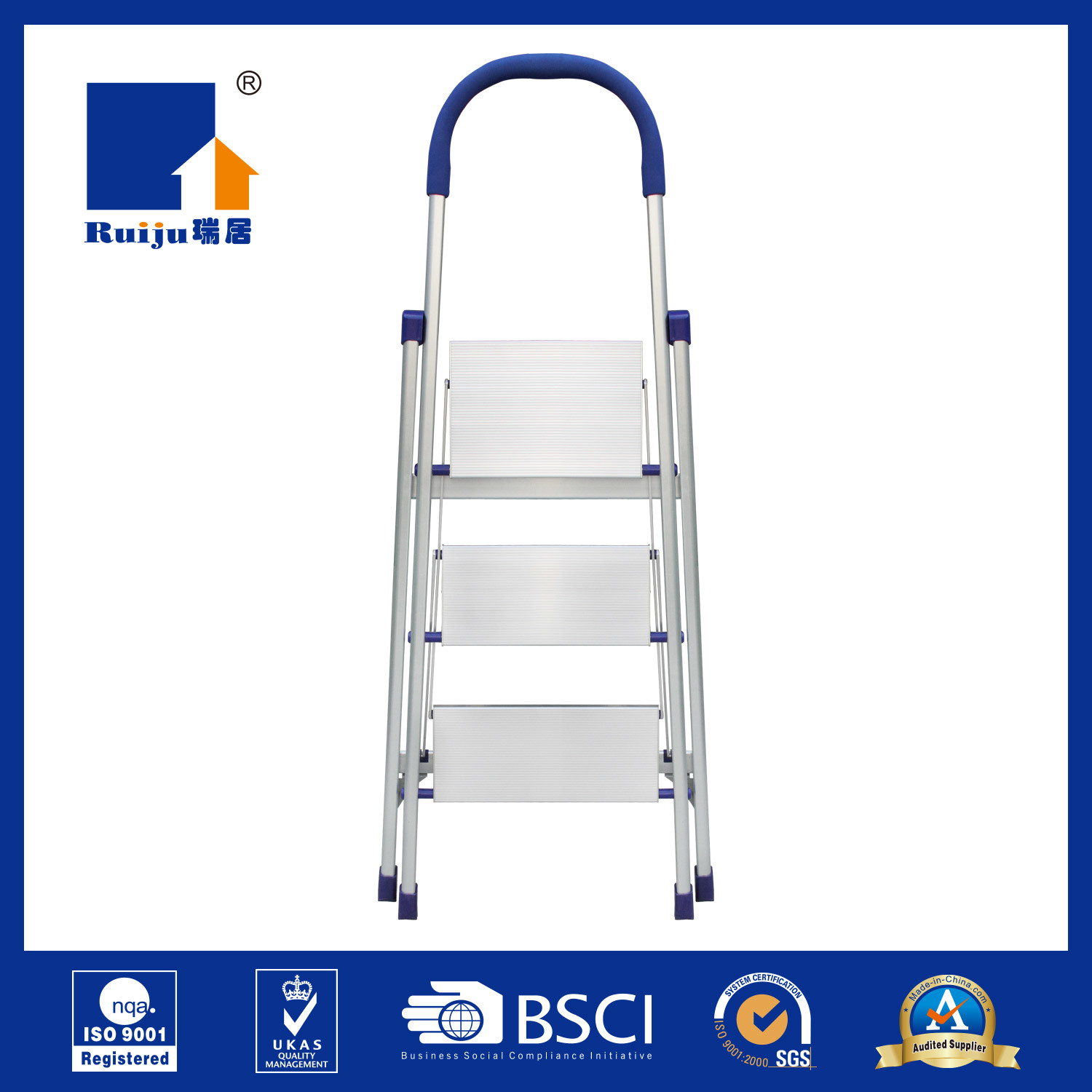 Slim Wide Aluminum Ladder for Daily Use