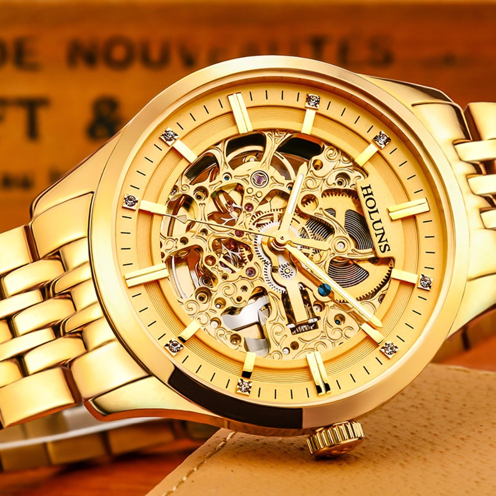 Relojes Hombre Man Watches Steampunk Gold Luxury Brand Top Famous Stainless Steel Strap Skeleton Fashion Waterproof
