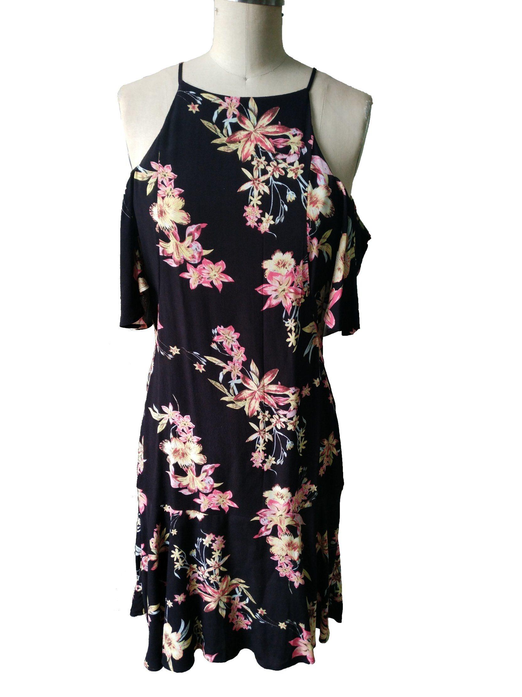 Flower Sleeveless Chiffon Sexy Fashion Latest Ladies Dress