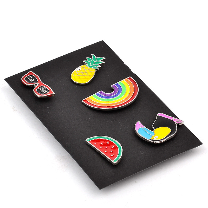 Fashion Color Enamel Brooches&Pins Glass Rainbow Necktie Clip Brooch Watermelon Woodpecker Shirt Collar Pin Jewelry Gift Zjp1601