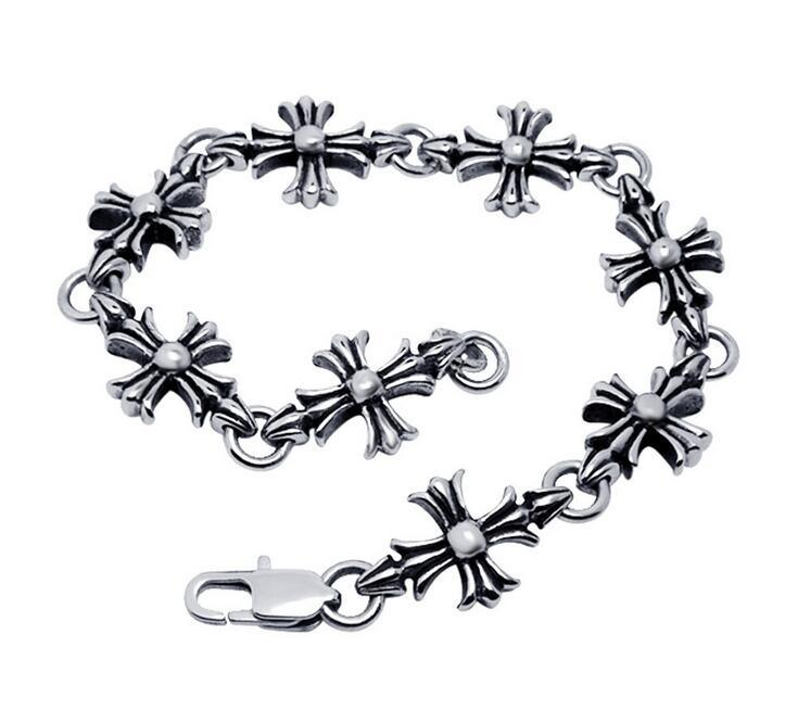 Gothic & Punk & Rock Style Men Stainless Steel Body Jewelry Classic Cross Bracelets