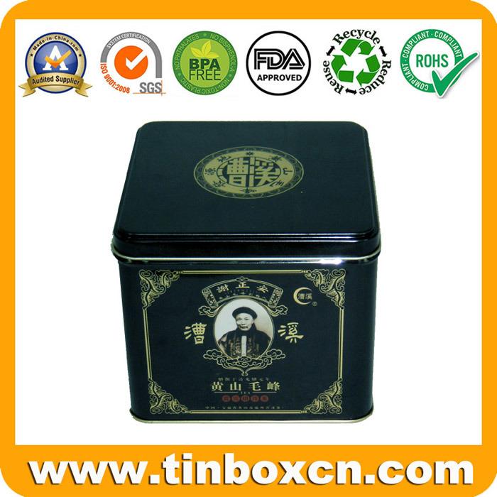 Square Tea Caddy with Airtight Lid, Tea Tin Box