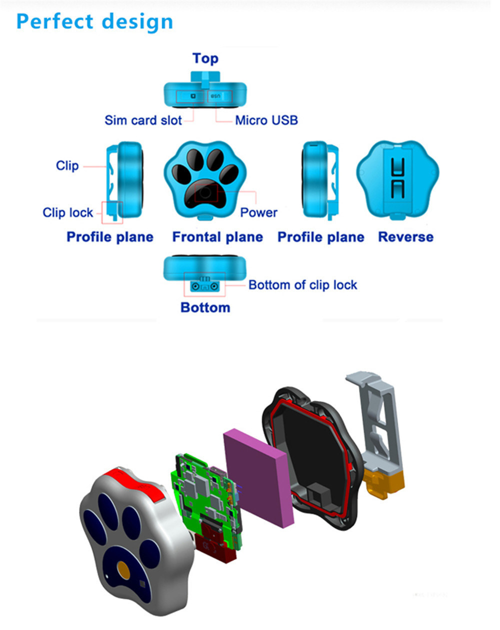 Mini Portable Waterproof Pet Tracker RF-V30 Smart WiFi Pet GPS Tracker IP66 Waterproof Collar Locator Safety Alarm for Dog Cat