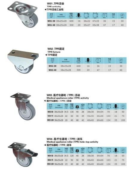 Trolley Fixed Swivel Brake Rubber Industry Caster Wheel