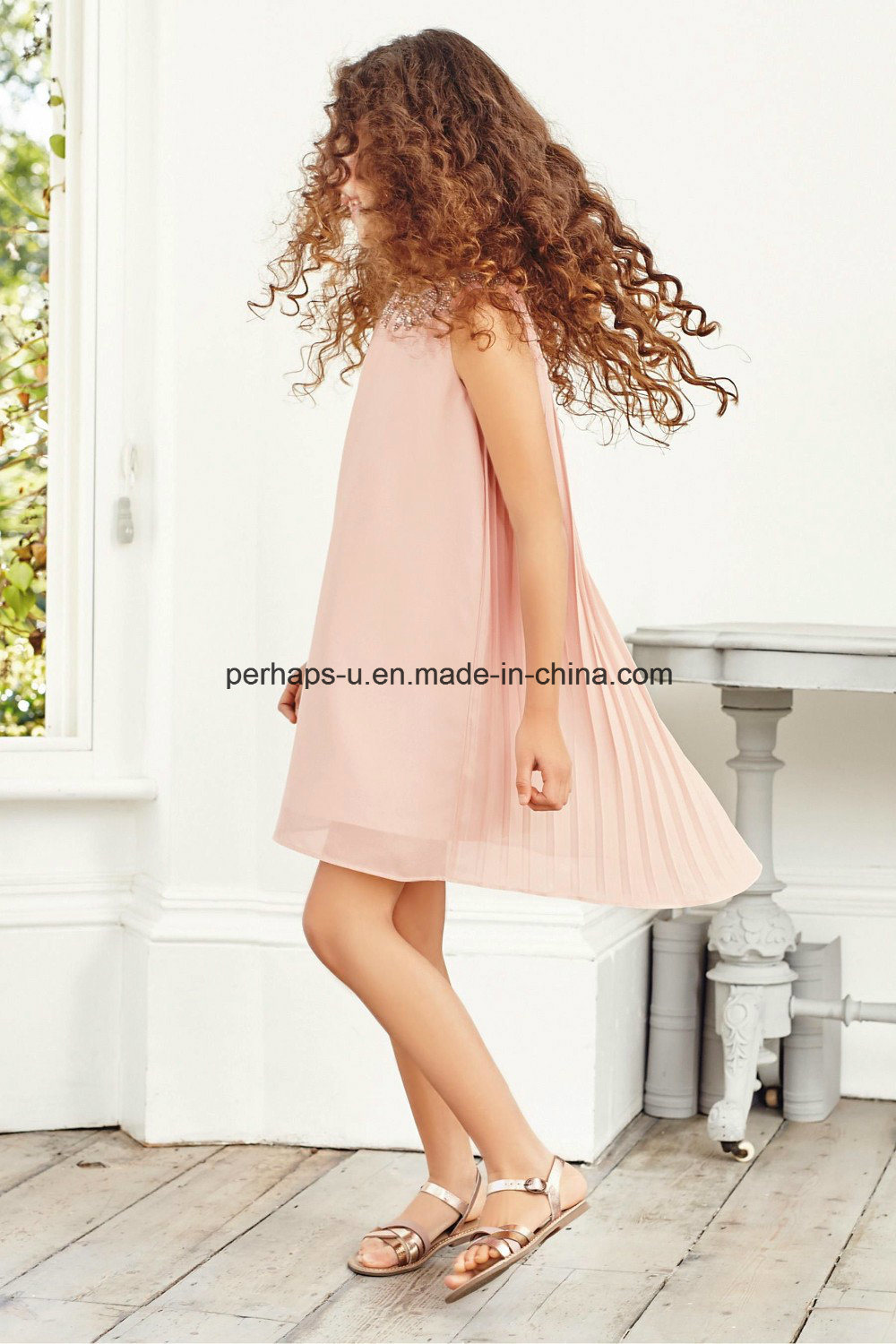 High Quality Fashion Princess Sleeveless Beads Pleated Girls Dress
