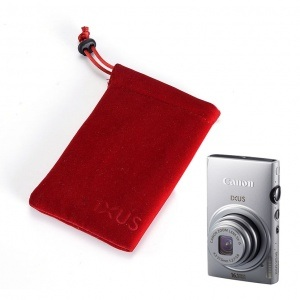 Velvet camera Pouch with Rope Fastener