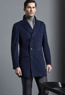 Top-Quality Double-Breasted Men′s Navy Wool Slim Leisure Winter Coat