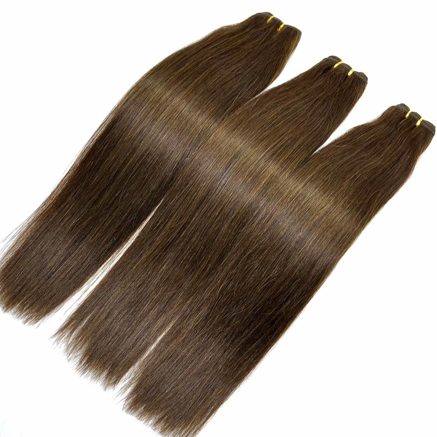 Fashion Hair Brown Color Silk Straight Human Hair Weft