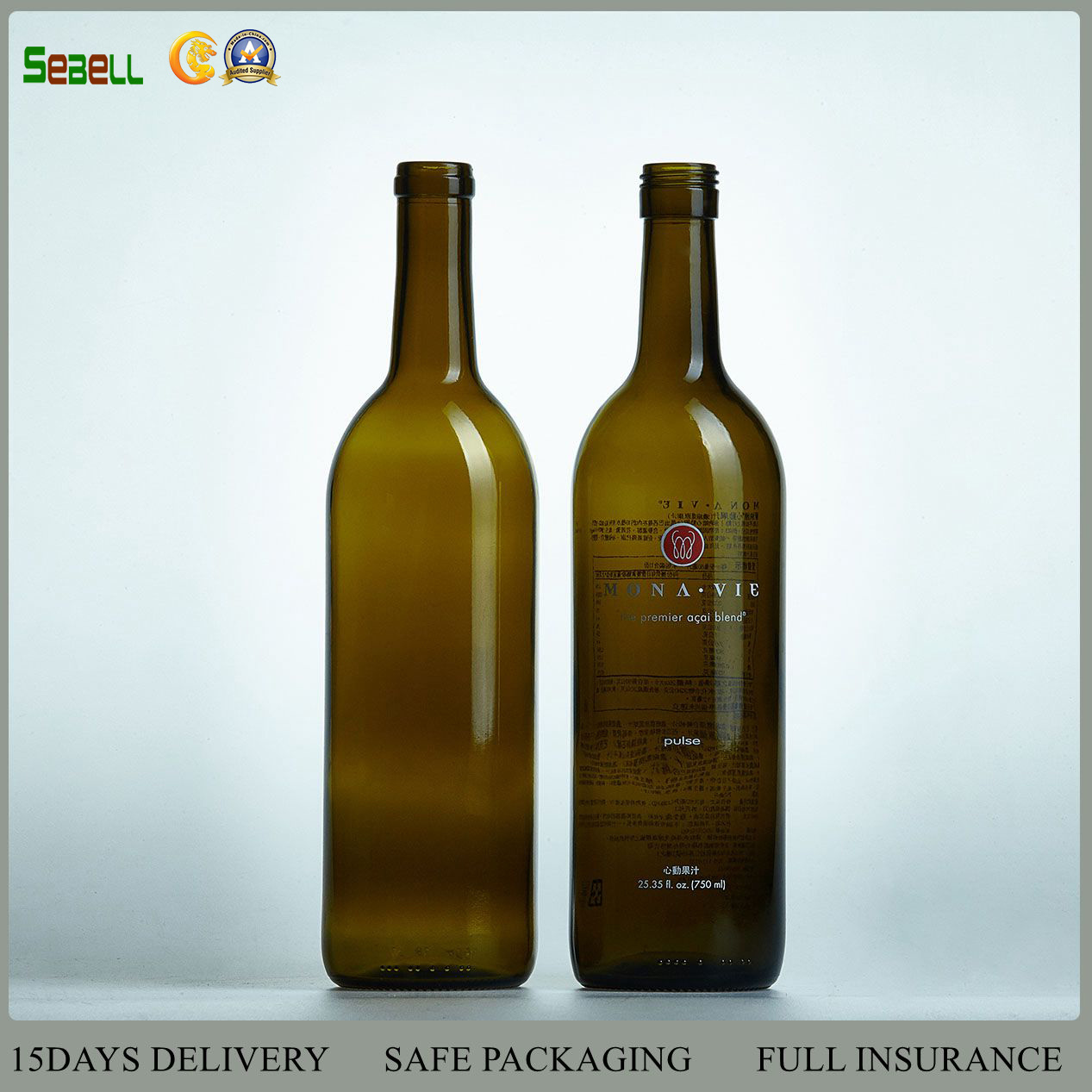 750ml Flat Bottom Bordeaux Glass Wine Bottle (01 glass wine bottle)