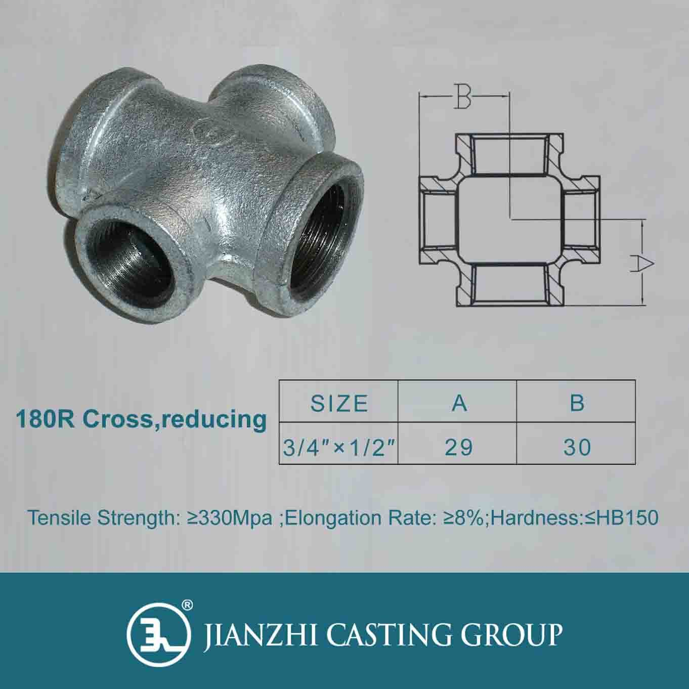 Malleable Iron Pipe Fitting Crosshead