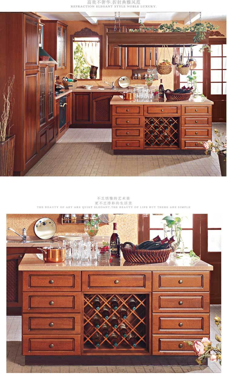 Home Furniture European Style Wood Kitchen Furniture / Kitchen Faucet Kitchen Taps Furniture and Kitchen Countertop Tradition Solid Wood Kitchen Cabinet