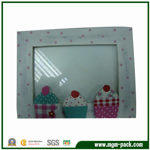 Lovely White Wood Picture Frame with Ice Cream Pattern