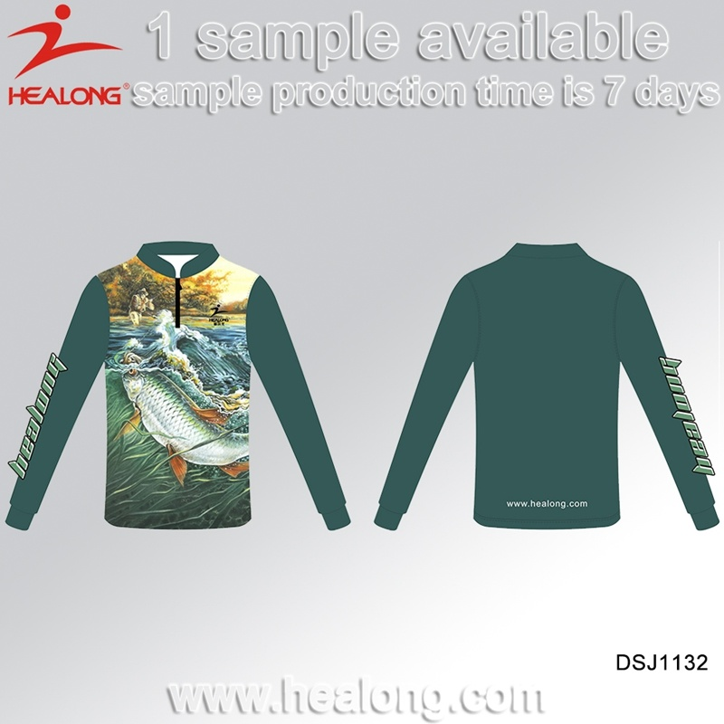 Healong Knitted 3D Sublimated Vented Fishing Shirts with UV Protective