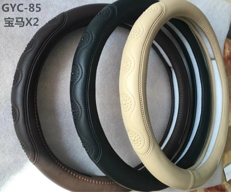 Genuine Leather Handle Steering Wheel Covers for BMW-X1 Model