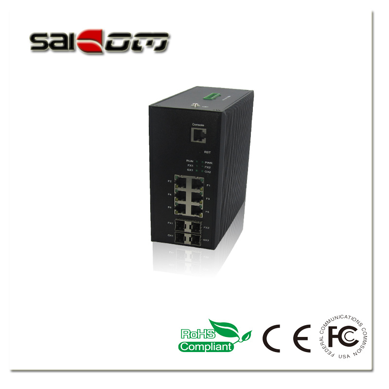 1000Mbps Intelligent/Smart 4GX/6GE Industrial Management Optical Network Switch