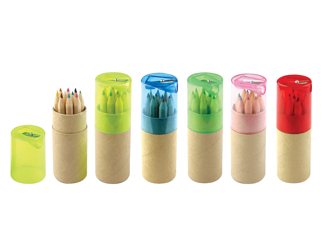 Half Size Natural Color Pencils in Paper Tube with Sharpener Cap