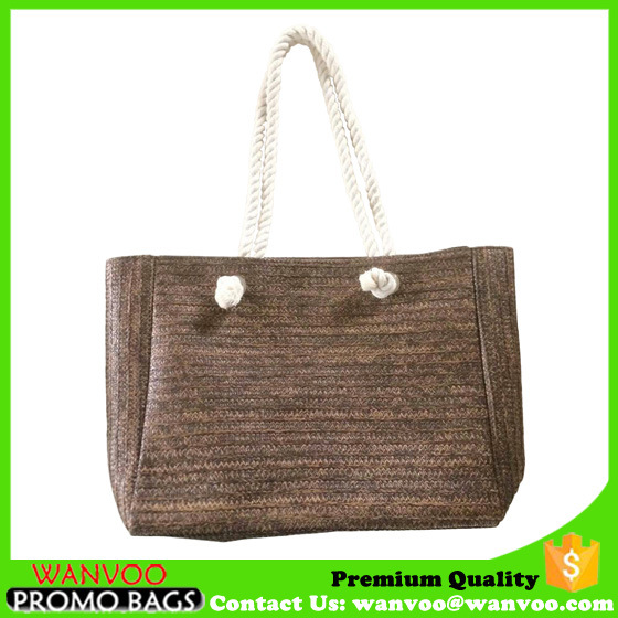 Wicker Straw Beach Bags with Cotton Rope Handle