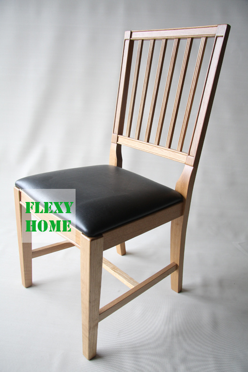 China solid wood dining chair with leather seat marid for Wood dining chairs with leather seats