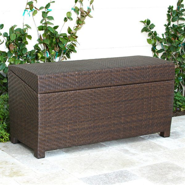 China gh st 46 wicker rattan storage box outdoor storage bench rattan outdoor furniture Storage bench outdoor