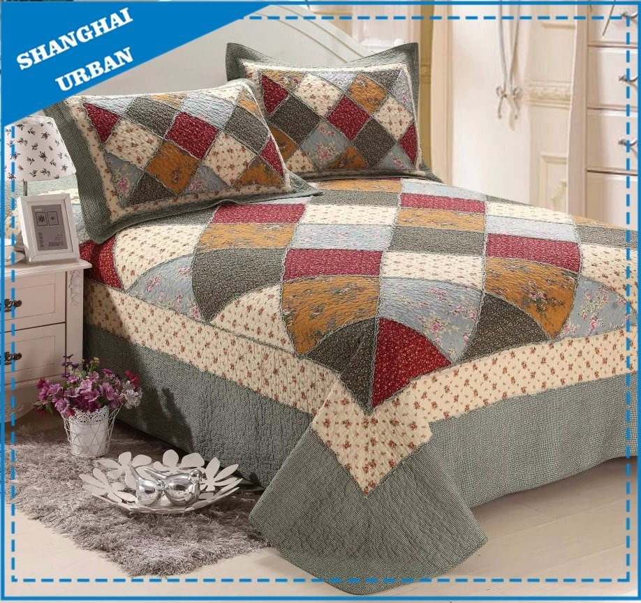 Printed Floral Cotton Patchwork Bedspread