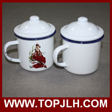 Old Style Sublimation 12 Oz Retro Enamel Cup with Lid