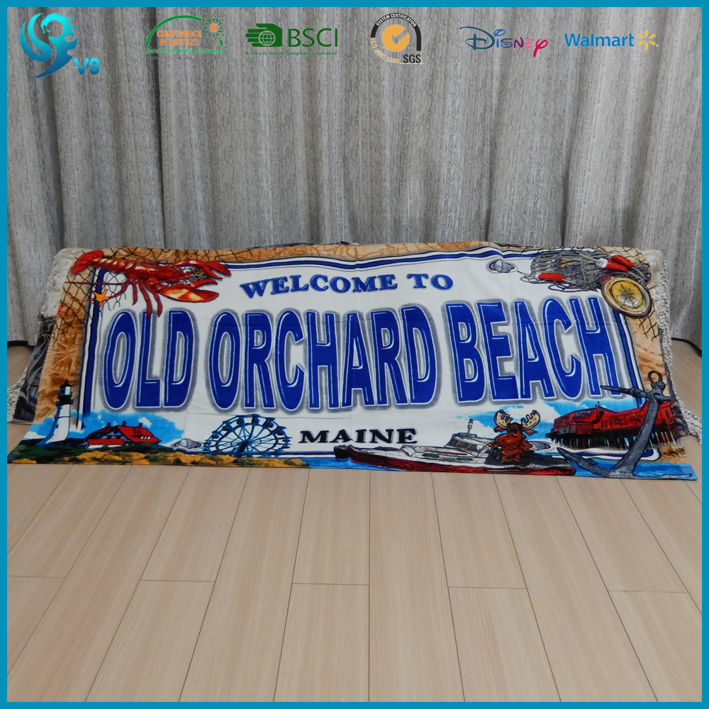 China Factory Promotion 100% Cotton Velour Printed Logo Beach Towel
