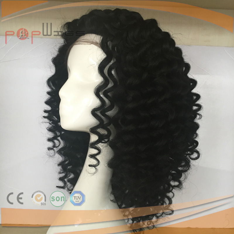 2.5cm Tight Curly off Black Full Hand Tied Human Virgin Remy Hair Full Lace Wig