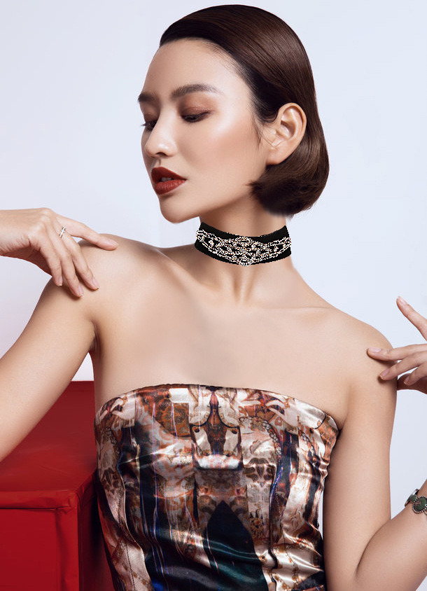Fashion Vintage Velvet Designer Rhinestone Diamond Choker Necklace Jewelry