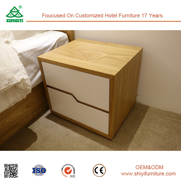 Hotel Bedroom Furniture Ash Wood 2 Drawer Nightstand