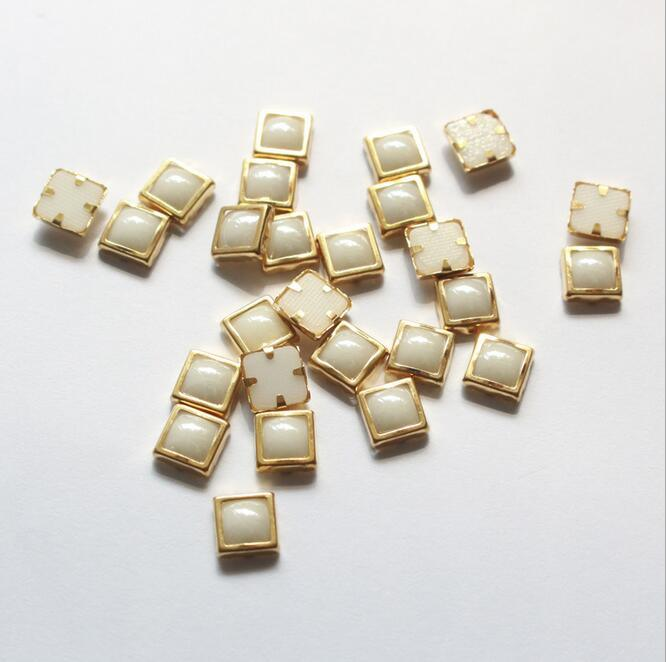 Metal Rimmed Hot Fix Ceramic Stones Rhinestone Hot Fix Ceramic Beads for Nail Art Decoration (HF-Square 6mm)