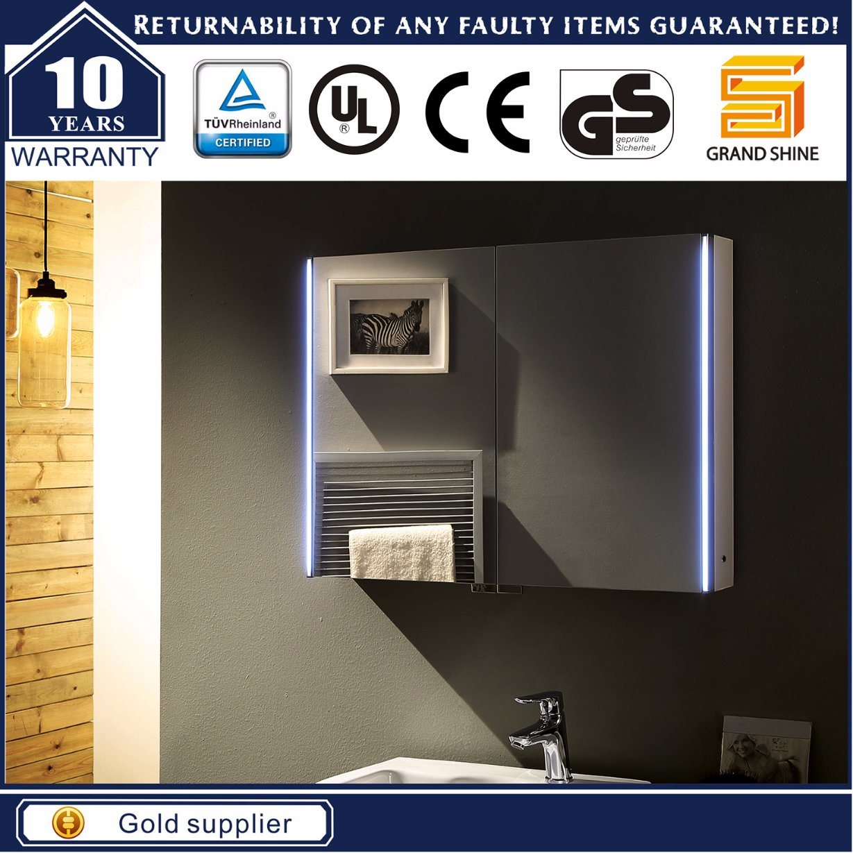 Wall Hang Wooden LED Mirror Cabinet