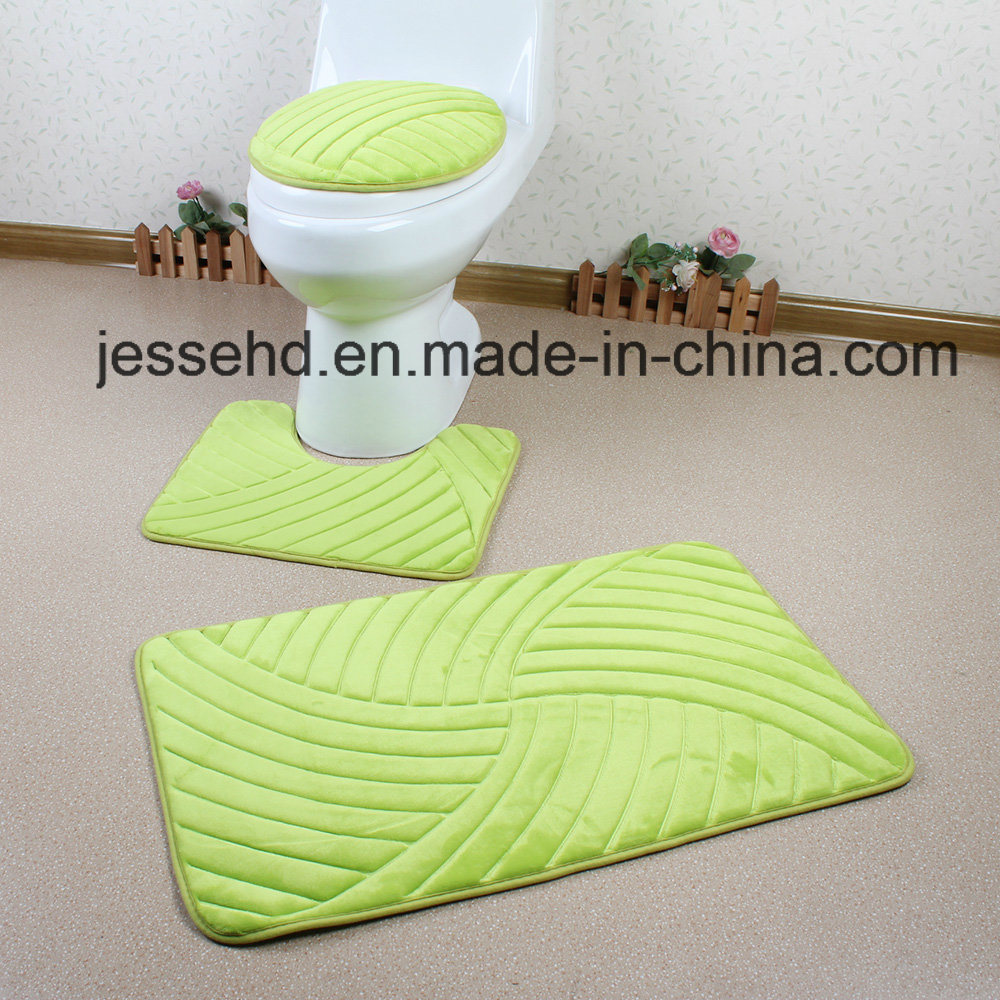 3D Embossed Anti Slip and Washable Bathroom Floor Mat Set 3PCS