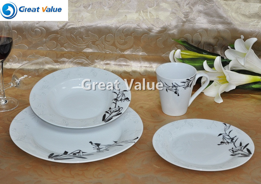 16PCS Round Plate Ceramic for Restaurant