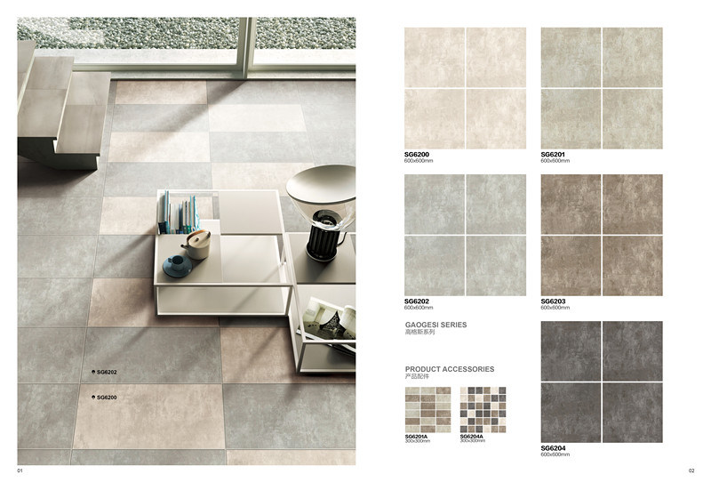 Gaogesi Series-Cement Design/Hot Sales Matte Finished/Rustic Tile Antique Brick Porcelain Floor Tile