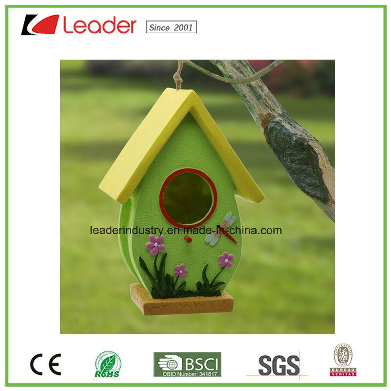 Handmade Polyresin Birdhouse for Patio and Garden Decoration