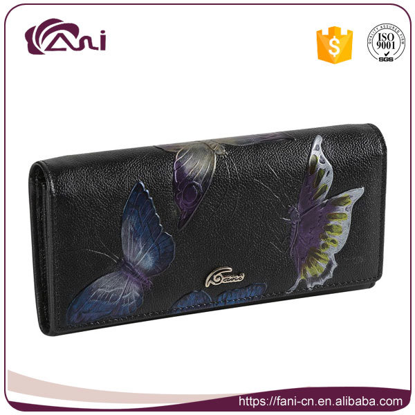 Women Leather Wallet, RFID Clutch Wallet, Butterfly Printed Real Cow Leather Purse