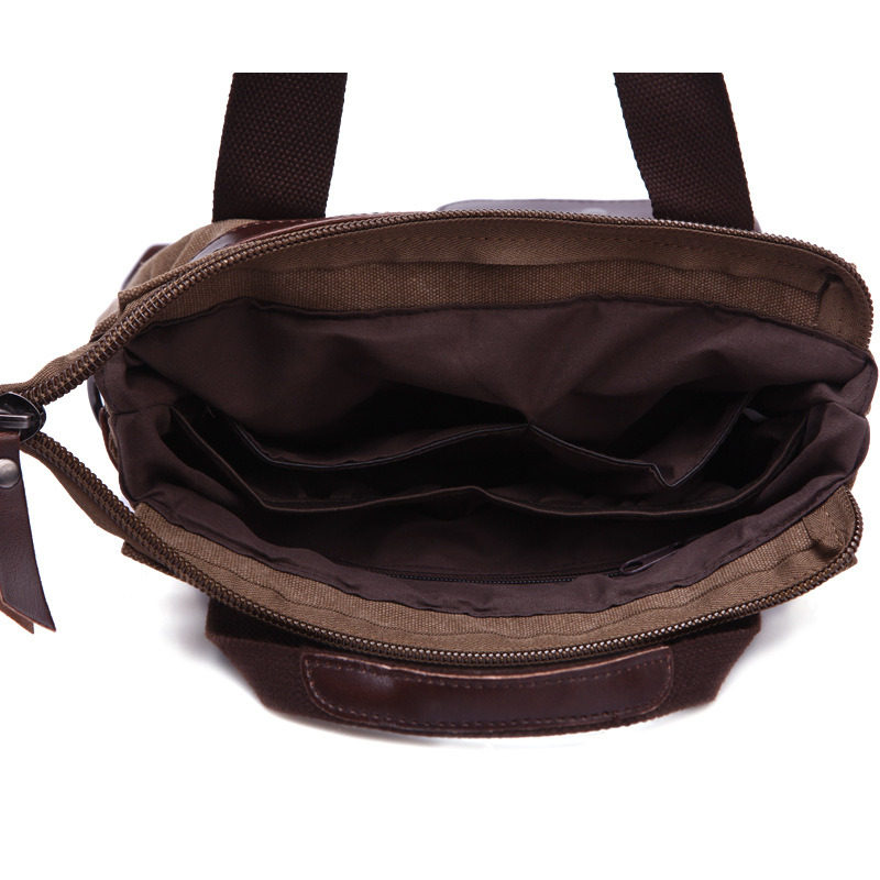 Vertical Retro Canvas Messenger Bag Courier Bag Briefcase