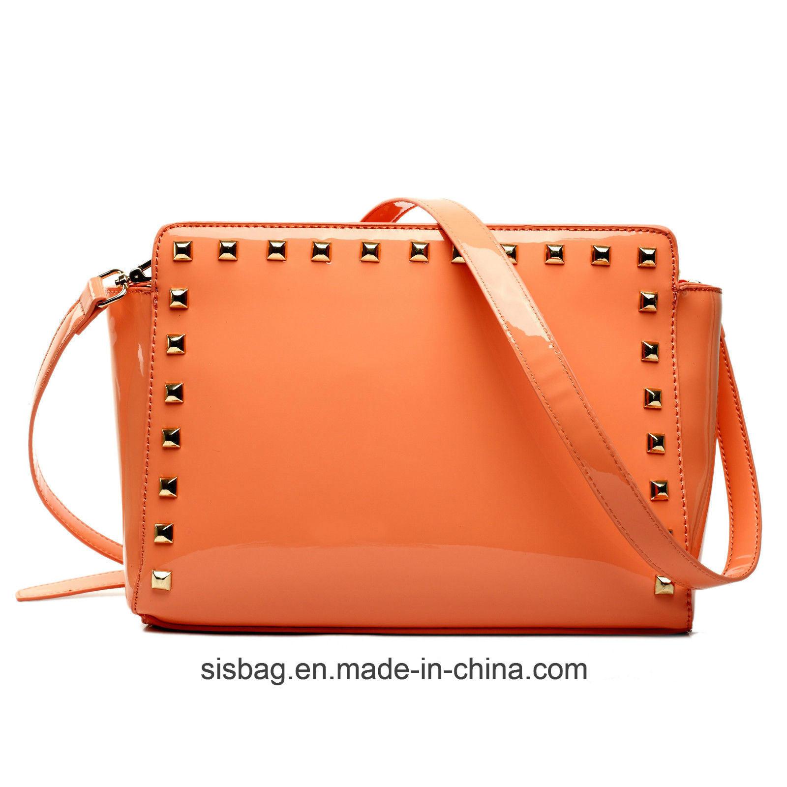 Womens Ladies Mirro PU Patent Studded Cross Body Shoulder Bag