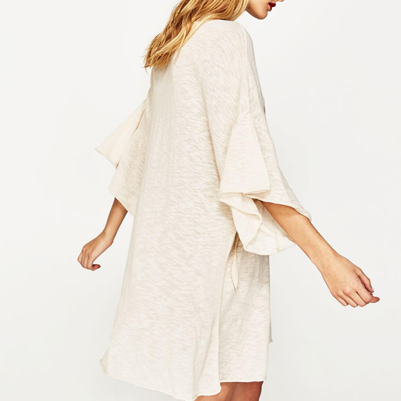 Ladies Fashion Flare Sleeve Bandage Broad Blouse